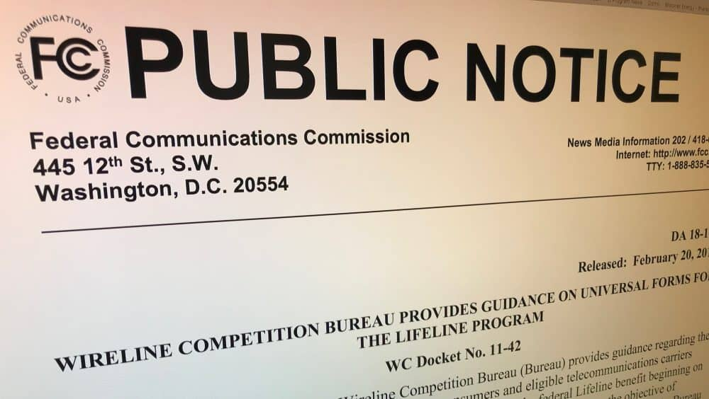 FCC Public Notice Announces Universal Lifeline Forms