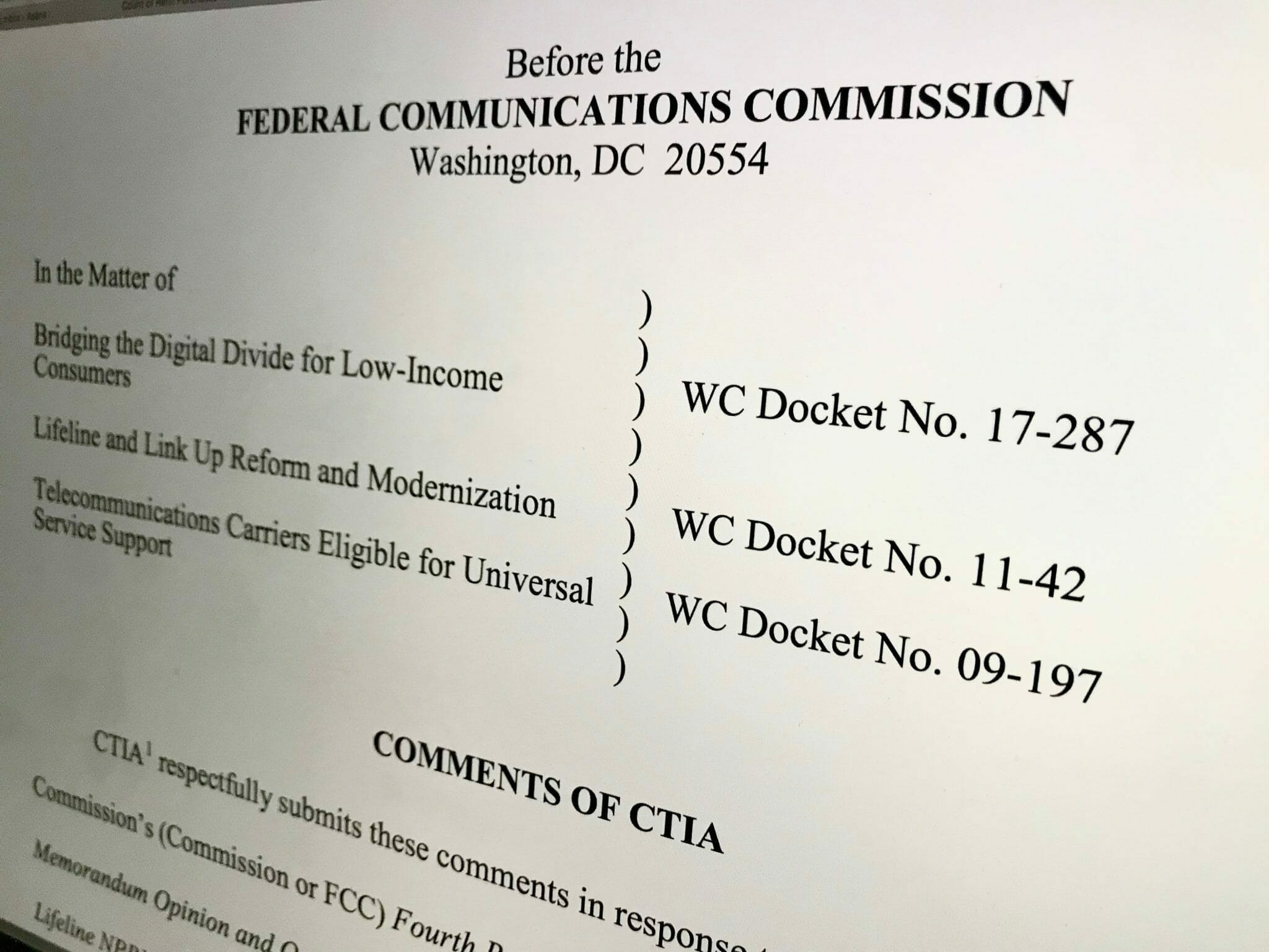 CTIA Opposes FCC Lifeline Changes Banning Wireless Resellers